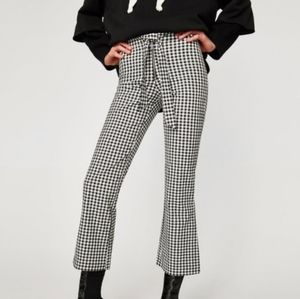 Zara Gingham Checkered Flare Pants with Tie